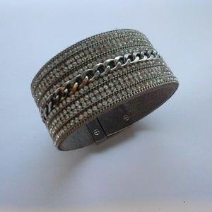 Wide Suede Rhinestone Wrap Bracelet